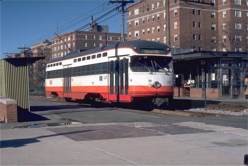 (245k, 1024x687)<br><b>Country:</b> United States<br><b>City:</b> Cleveland, OH<br><b>System:</b> GCRTA (or predecessor)<br><b>Line:</b> GCRTA Blue/Green Line<br><b>Location:</b> Shaker Square<br><b>Car:</b> Shaker Heights PCC (Pullman-Standard, 1947) 75 <br><b>Photo by:</b> William J. Madden<br><b>Collection of:</b> Joe Testagrose<br><b>Date:</b> 11/16/1980<br><b>Viewed (this week/total):</b> 1 / 15230
