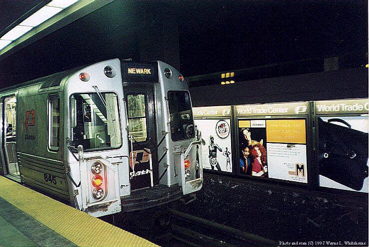 (102k, 741x496)<br><b>Country:</b> United States<br><b>City:</b> New York<br><b>System:</b> PATH<br><b>Location:</b> World Trade Center<br><b>Car:</b> PATH PA-4 (Kawasaki, 1986) 845 <br><b>Photo by:</b> Wayne Whitehorne<br><b>Date:</b> 1998<br><b>Viewed (this week/total):</b> 3 / 9641