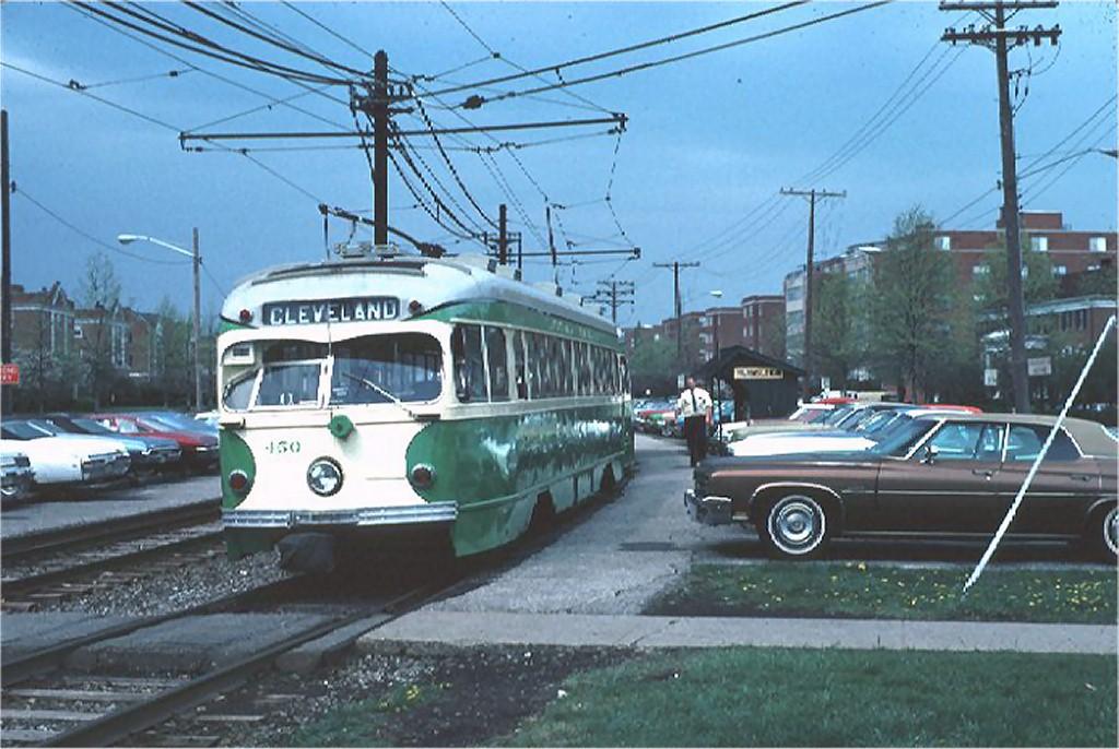 (185k, 1024x686)<br><b>Country:</b> United States<br><b>City:</b> Cleveland, OH<br><b>System:</b> GCRTA (or predecessor)<br><b>Line:</b> GCRTA Blue/Green Line<br><b>Location:</b> Farnsleigh (Blue)<br><b>Car:</b> Illinois Terminal PCC (Double-end) (St. Louis Car Co., 1949) 450 <br><b>Photo by:</b> Joe Testagrose<br><b>Date:</b> 4/1976<br><b>Notes:</b> Illinois Terminal PCC 450 on Cleveland/Shaker Heights Line<br><b>Viewed (this week/total):</b> 5 / 18892