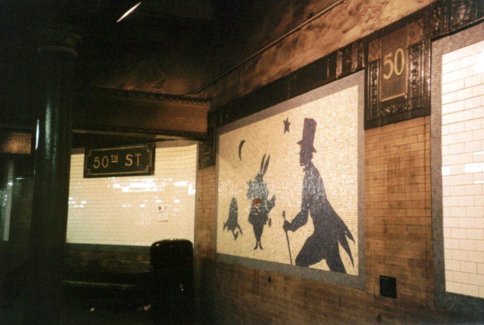 (89k, 950x638)<br><b>Country:</b> United States<br><b>City:</b> New York<br><b>System:</b> New York City Transit<br><b>Line:</b> IRT West Side Line<br><b>Location:</b> 50th Street<br><b>Photo by:</b> David of Broadway<br><b>Date:</b> 1/6/2002<br><b>Artwork:</b> <i>Alice: The Way Out</i>, Liliana Porter, 1994<br><b>Viewed (this week/total):</b> 4 / 6145