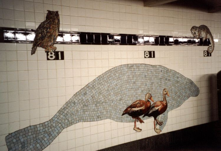 (58k, 750x513)<br><b>Country:</b> United States<br><b>City:</b> New York<br><b>System:</b> New York City Transit<br><b>Line:</b> IND 8th Avenue Line<br><b>Location:</b> 81st Street/Museum of Natural History<br><b>Photo by:</b> David of Broadway<br><b>Date:</b> 1/6/2002<br><b>Artwork:</b> <i>For Want of a Nail</i>, MTA Arts For Transit Collaborative, 1999<br><b>Viewed (this week/total):</b> 1 / 10038