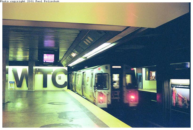 (76k, 820x553)<br><b>Country:</b> United States<br><b>City:</b> New York<br><b>System:</b> PATH<br><b>Location:</b> World Trade Center<br><b>Car:</b> PATH PA-4 (Kawasaki, 1986)  <br><b>Photo by:</b> Paul Polischuk<br><b>Date:</b> 9/7/2001<br><b>Viewed (this week/total):</b> 1 / 14387