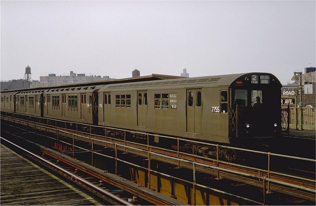 (184k, 1024x666)<br><b>Country:</b> United States<br><b>City:</b> New York<br><b>System:</b> New York City Transit<br><b>Line:</b> IRT Brooklyn Line<br><b>Location:</b> Sutter Avenue/Rutland Road<br><b>Route:</b> 2<br><b>Car:</b> R-26 (American Car & Foundry, 1959-60) 7755 <br><b>Photo by:</b> Doug Grotjahn<br><b>Collection of:</b> Joe Testagrose<br><b>Date:</b> 8/15/1967<br><b>Viewed (this week/total):</b> 0 / 7867