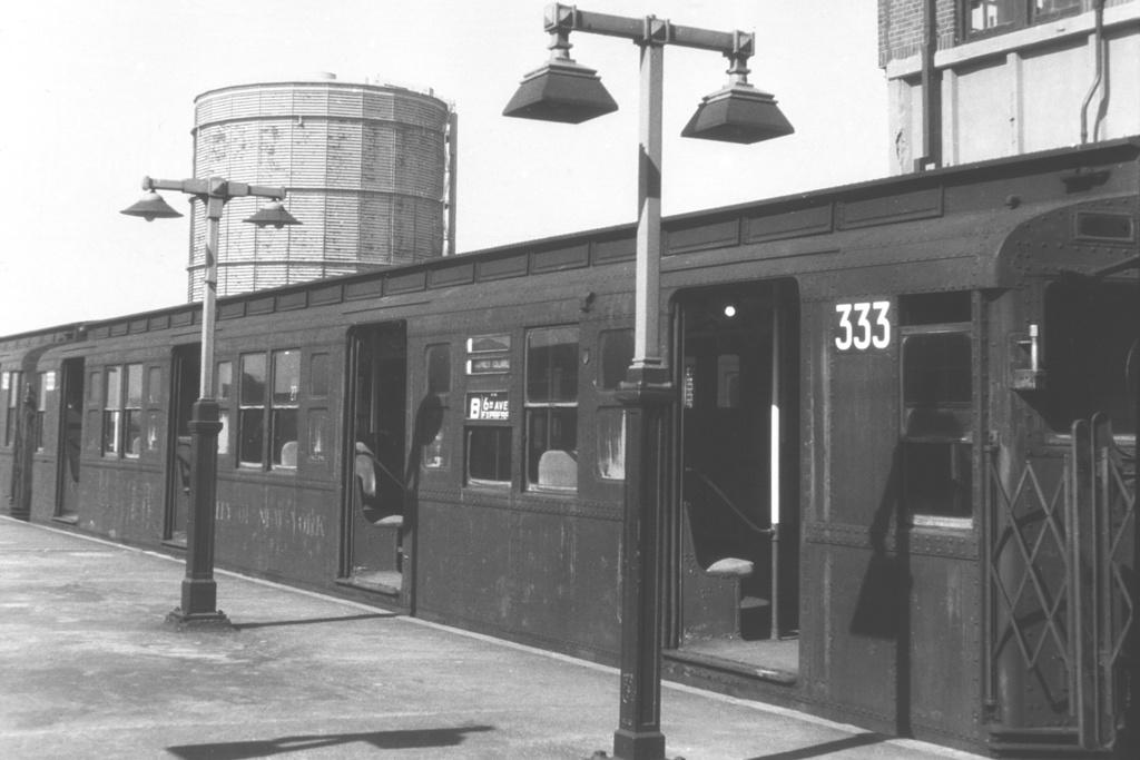 (198k, 1024x683)<br><b>Country:</b> United States<br><b>City:</b> New York<br><b>System:</b> New York City Transit<br><b>Location:</b> Coney Island/Stillwell Avenue<br><b>Car:</b> R-1 (American Car & Foundry, 1930-1931) 333 <br><b>Collection of:</b> David Pirmann<br><b>Date:</b> 4/6/1968<br><b>Viewed (this week/total):</b> 0 / 4754