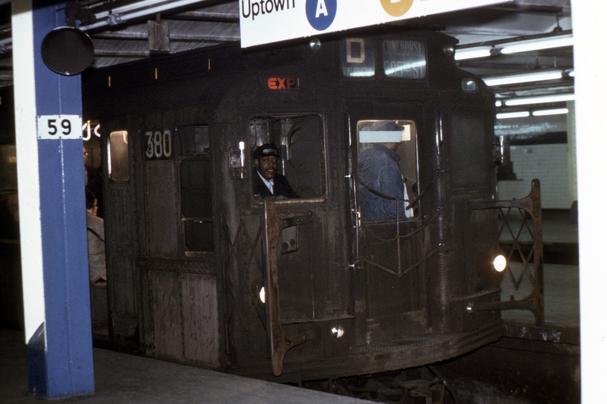 (351k, 1200x800)<br><b>Country:</b> United States<br><b>City:</b> New York<br><b>System:</b> New York City Transit<br><b>Line:</b> IND 8th Avenue Line<br><b>Location:</b> 59th Street/Columbus Circle<br><b>Route:</b> D<br><b>Car:</b> R-1 (American Car & Foundry, 1930-1931) 380 <br><b>Collection of:</b> David Pirmann<br><b>Viewed (this week/total):</b> 2 / 5640