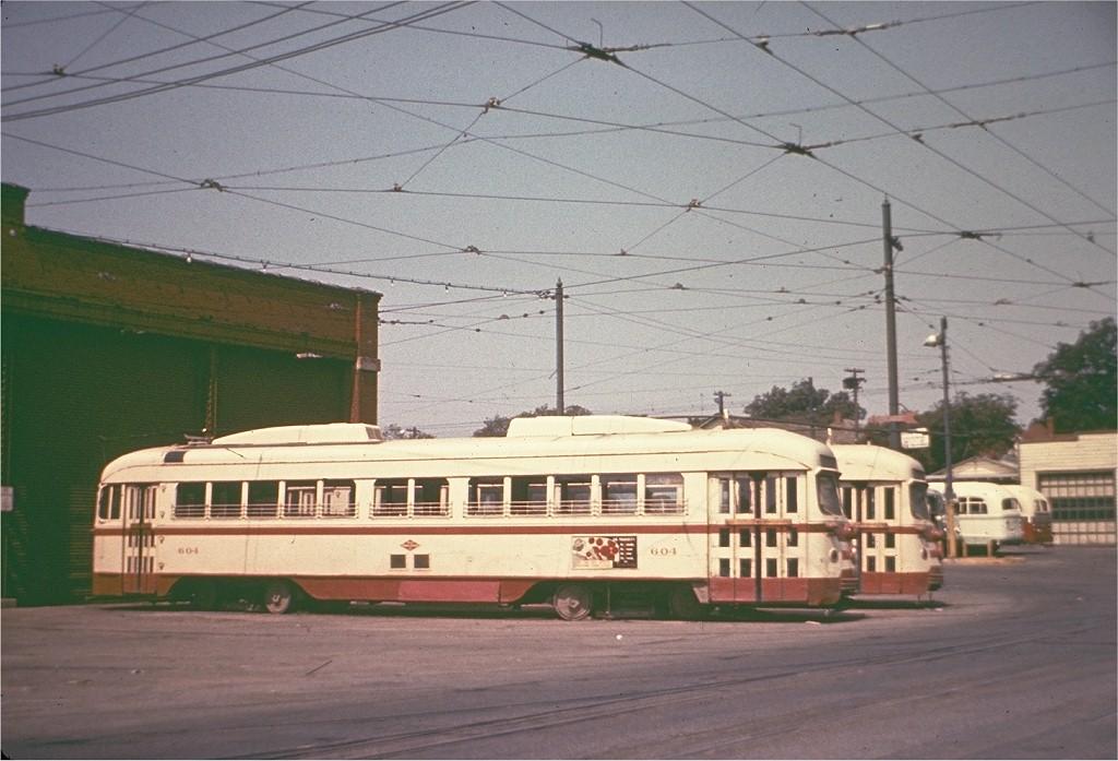 (182k, 1024x697)<br><b>Country:</b> United States<br><b>City:</b> Dallas, TX<br><b>System:</b> Dallas Railway & Terminal<br><b>Location:</b> Elm Peak Yard-Dallas<br><b>Car:</b> Dallas Railway & Terminal PCC Double End (Pullman-Standard, 1945) 604 <br><b>Collection of:</b> Joe Testagrose<br><b>Viewed (this week/total):</b> 0 / 13983
