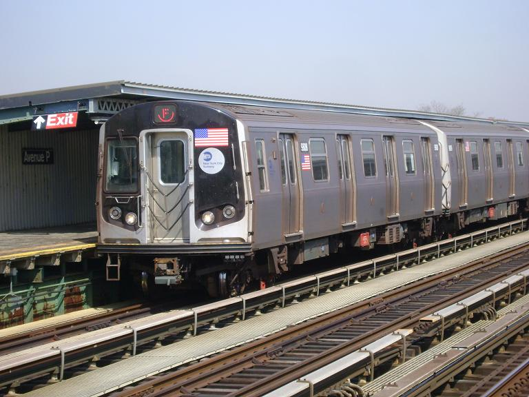 (102k, 768x576)<br><b>Country:</b> United States<br><b>City:</b> New York<br><b>System:</b> New York City Transit<br><b>Line:</b> BMT Culver Line<br><b>Location:</b> Avenue P<br><b>Route:</b> F<br><b>Car:</b> R-160B (Option 2) (Kawasaki, 2009) 9808 <br><b>Photo by:</b> John Dooley<br><b>Date:</b> 4/8/2010<br><b>Viewed (this week/total):</b> 7 / 1442