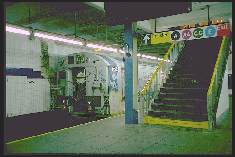 (116k, 768x512)<br><b>Country:</b> United States<br><b>City:</b> New York<br><b>System:</b> New York City Transit<br><b>Line:</b> BMT Canarsie Line<br><b>Location:</b> 8th Avenue<br><b>Route:</b> LL<br><b>Car:</b> R-16 (American Car & Foundry, 1955) 6348 <br><b>Photo by:</b> Joe Testagrose<br><b>Date:</b> 10/31/1976<br><b>Viewed (this week/total):</b> 0 / 7854