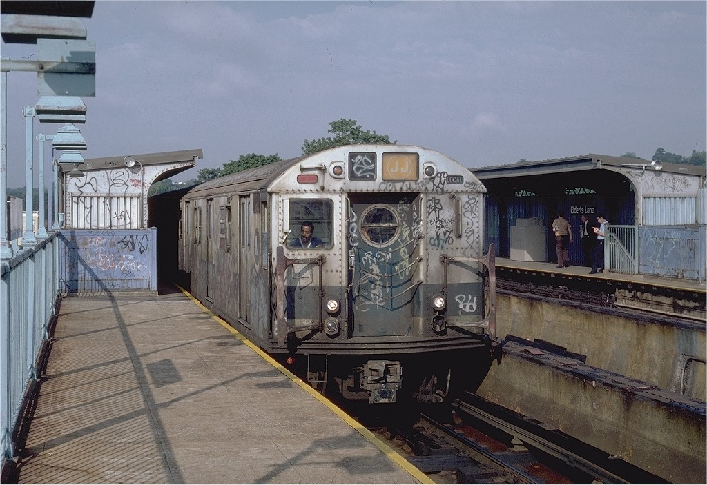 (218k, 1024x703)<br><b>Country:</b> United States<br><b>City:</b> New York<br><b>System:</b> New York City Transit<br><b>Line:</b> BMT Nassau Street-Jamaica Line<br><b>Location:</b> 75th Street/Elderts Lane<br><b>Route:</b> J<br><b>Car:</b> R-16 (American Car & Foundry, 1955) 6361 <br><b>Photo by:</b> Steve Zabel<br><b>Collection of:</b> Joe Testagrose<br><b>Date:</b> 9/3/1982<br><b>Viewed (this week/total):</b> 4 / 7712