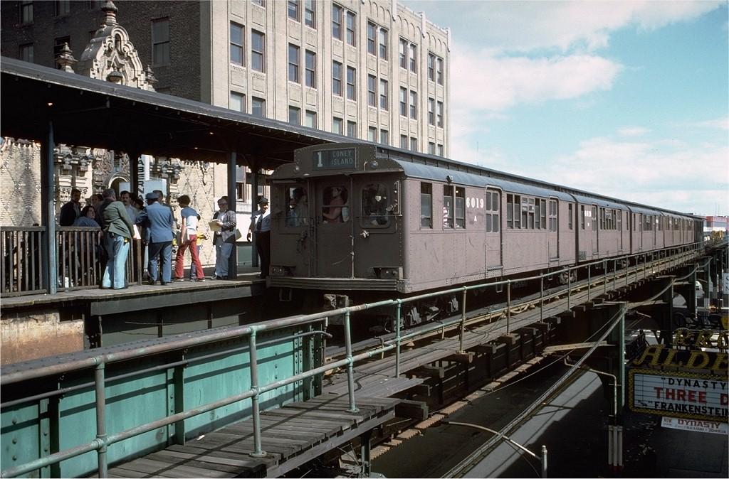 (228k, 1024x674)<br><b>Country:</b> United States<br><b>City:</b> New York<br><b>System:</b> New York City Transit<br><b>Line:</b> BMT Nassau Street-Jamaica Line<br><b>Location:</b> 168th Street (Demolished)<br><b>Route:</b> Fan Trip<br><b>Car:</b> BMT D-Type Triplex 6019 <br><b>Photo by:</b> Doug Grotjahn<br><b>Collection of:</b> Joe Testagrose<br><b>Date:</b> 9/11/1977<br><b>Viewed (this week/total):</b> 1 / 8553