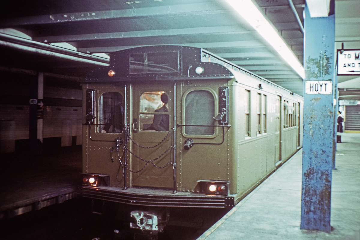 (404k, 1200x800)<br><b>Country:</b> United States<br><b>City:</b> New York<br><b>System:</b> New York City Transit<br><b>Line:</b> IND Fulton Street Line<br><b>Location:</b> Hoyt-Schermerhorn Street<br><b>Route:</b> Fan Trip<br><b>Car:</b> BMT D-Type Triplex 6112 <br><b>Photo by:</b> Doug Grotjahn<br><b>Collection of:</b> David Pirmann<br><b>Date:</b> 12/5/1976<br><b>Viewed (this week/total):</b> 0 / 5676