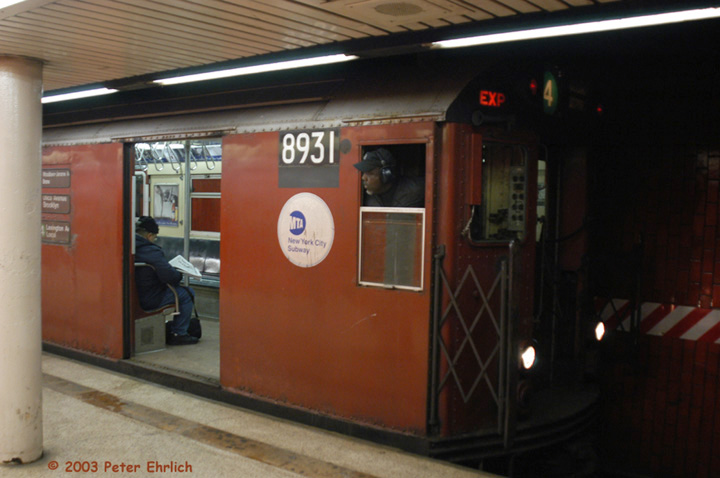 (105k, 720x478)<br><b>Country:</b> United States<br><b>City:</b> New York<br><b>System:</b> New York City Transit<br><b>Line:</b> IRT East Side Line<br><b>Location:</b> Bowling Green<br><b>Route:</b> 4<br><b>Car:</b> R-33 Main Line (St. Louis, 1962-63) 8931 <br><b>Photo by:</b> Peter Ehrlich<br><b>Date:</b> 3/4/2003<br><b>Viewed (this week/total):</b> 2 / 8322