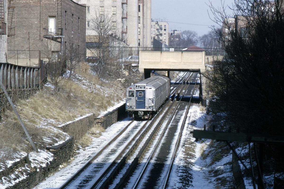 (645k, 1200x800)<br><b>Country:</b> United States<br><b>City:</b> New York<br><b>System:</b> New York City Transit<br><b>Line:</b> BMT Franklin Shuttle<br><b>Location:</b> Empire Blvd. (Malbone St.) Tunnel Portal<br><b>Car:</b> R-11 (Budd, 1949)  <br><b>Collection of:</b> David Pirmann<br><b>Date:</b> 1/30/1966<br><b>Notes:</b> View from atop tunnel portal leading to Prospect Park station<br><b>Viewed (this week/total):</b> 3 / 8296
