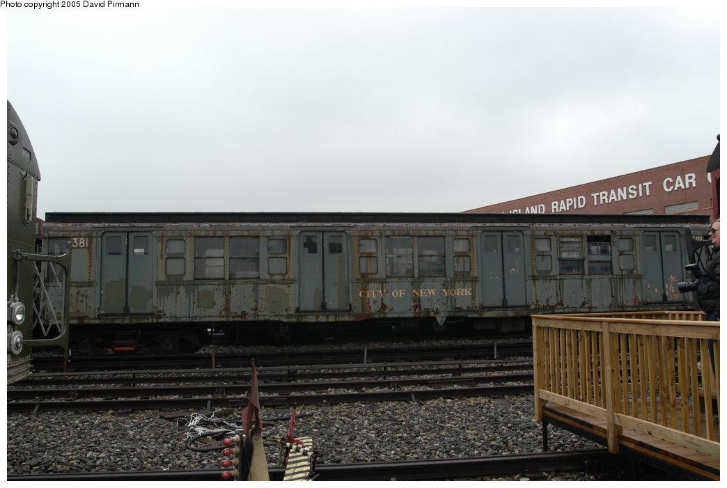 (165k, 1044x701)<br><b>Country:</b> United States<br><b>City:</b> New York<br><b>System:</b> New York City Transit<br><b>Location:</b> Coney Island Yard-Museum Yard<br><b>Car:</b> R-1 (American Car & Foundry, 1930-1931) 381 <br><b>Photo by:</b> David Pirmann<br><b>Date:</b> 4/5/2003<br><b>Viewed (this week/total):</b> 2 / 7776