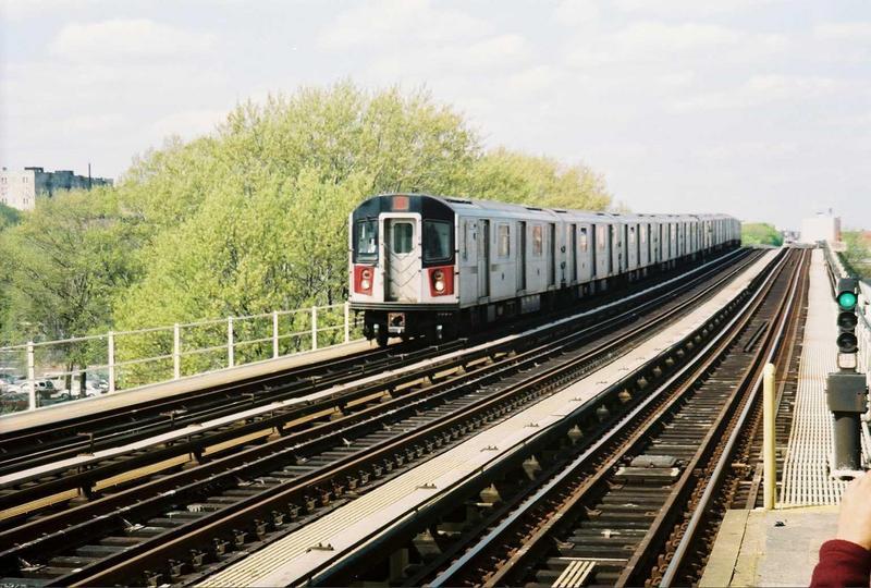 (89k, 800x540)<br><b>Country:</b> United States<br><b>City:</b> New York<br><b>System:</b> New York City Transit<br><b>Line:</b> IRT Woodlawn Line<br><b>Location:</b> 161st Street-River Avenue (Yankee Stadium)<br><b>Car:</b> R-142A (Option Order, Kawasaki, 2002-2003) 7696 <br><b>Photo by:</b> Gary Chatterton<br><b>Date:</b> 5/1/2005<br><b>Viewed (this week/total):</b> 1 / 3324