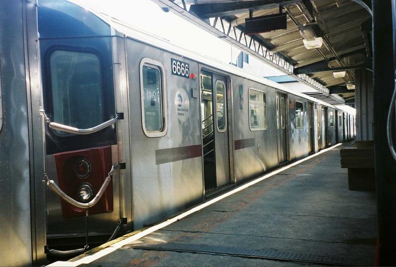 (69k, 800x540)<br><b>Country:</b> United States<br><b>City:</b> New York<br><b>System:</b> New York City Transit<br><b>Line:</b> IRT White Plains Road Line<br><b>Location:</b> 241st Street<br><b>Route:</b> 2<br><b>Car:</b> R-142 (Primary Order, Bombardier, 1999-2002) 6666 <br><b>Photo by:</b> Gary Chatterton<br><b>Date:</b> 5/1/2005<br><b>Viewed (this week/total):</b> 0 / 6016