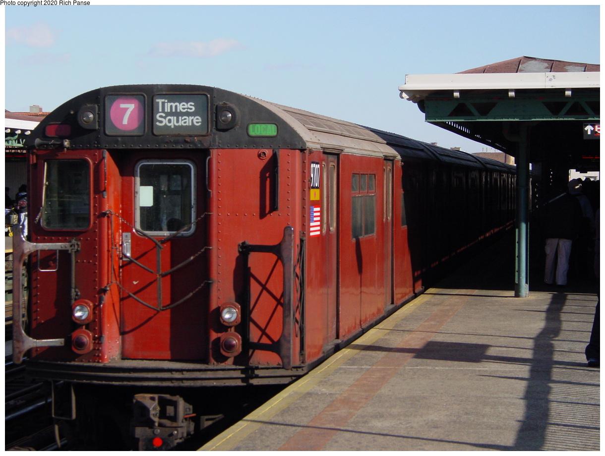 (363k, 1220x920)<br><b>Country:</b> United States<br><b>City:</b> New York<br><b>System:</b> New York City Transit<br><b>Line:</b> IRT Flushing Line<br><b>Location:</b> 82nd Street/Jackson Heights<br><b>Route:</b> 7<br><b>Car:</b> R-36 World's Fair (St. Louis, 1963-64) 9707 <br><b>Photo by:</b> Richard Panse<br><b>Date:</b> 1/20/2003<br><b>Viewed (this week/total):</b> 1 / 4347