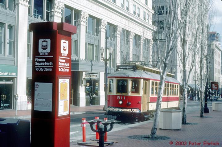 (169k, 720x477)<br><b>Country:</b> United States<br><b>City:</b> Portland, OR<br><b>System:</b> Portland Vintage Trolley<br><b>Line:</b> MAX Blue (East-West) Line<br><b>Location:</b> Pioneer Square North<br><b>Car:</b> PVT Council Crest (Gomaco Replica) 511 <br><b>Photo by:</b> Peter Ehrlich<br><b>Date:</b> 2/15/1992<br><b>Viewed (this week/total):</b> 2 / 2650