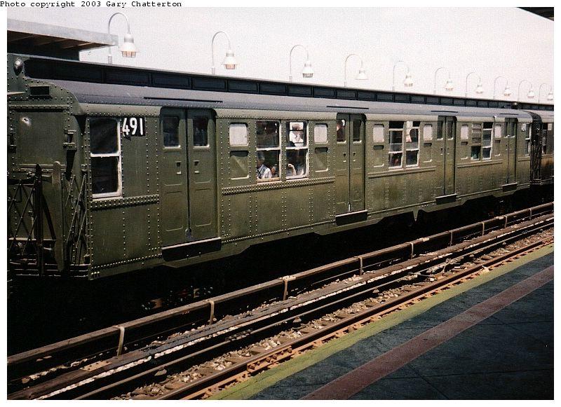(108k, 800x581)<br><b>Country:</b> United States<br><b>City:</b> New York<br><b>System:</b> New York City Transit<br><b>Line:</b> IND Rockaway Line<br><b>Location:</b> Beach 90th Street/Holland<br><b>Route:</b> Fan Trip<br><b>Car:</b> R-4 (American Car & Foundry, 1932-1933) 491 (ex-401)<br><b>Photo by:</b> Gary Chatterton<br><b>Date:</b> 6/28/2003<br><b>Viewed (this week/total):</b> 3 / 3562