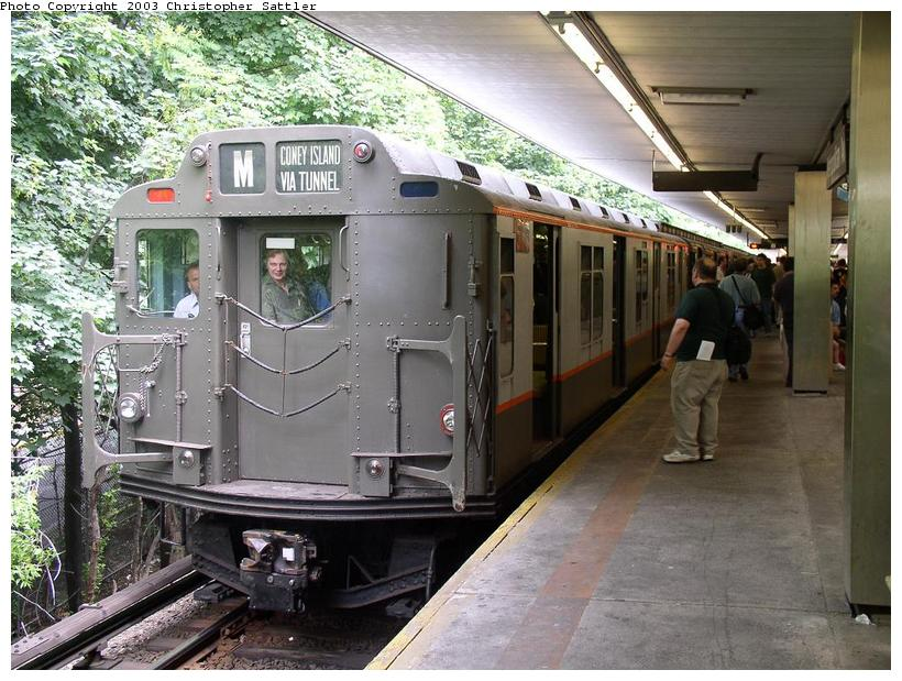 (106k, 820x619)<br><b>Country:</b> United States<br><b>City:</b> New York<br><b>System:</b> New York City Transit<br><b>Line:</b> BMT Myrtle Avenue Line<br><b>Location:</b> Metropolitan Avenue<br><b>Route:</b> Fan Trip<br><b>Car:</b> R-7A (Pullman, 1938) 1575 <br><b>Photo by:</b> Christopher Sattler<br><b>Date:</b> 6/28/2003<br><b>Viewed (this week/total):</b> 2 / 4830