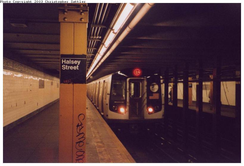 (51k, 820x559)<br><b>Country:</b> United States<br><b>City:</b> New York<br><b>System:</b> New York City Transit<br><b>Line:</b> BMT Canarsie Line<br><b>Location:</b> Halsey Street<br><b>Route:</b> L<br><b>Car:</b> R-143 (Kawasaki, 2001-2002)  <br><b>Photo by:</b> Christopher Sattler<br><b>Date:</b> 4/1/2002<br><b>Viewed (this week/total):</b> 1 / 10071