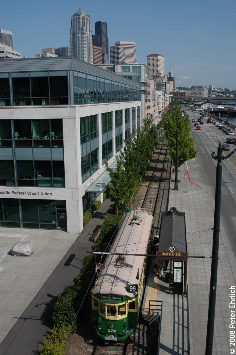 (293k, 774x1164)<br><b>Country:</b> United States<br><b>City:</b> Seattle, WA<br><b>System:</b> Seattle Waterfront Streetcar<br><b>Location:</b> Alaskan Way/Bell<br><b>Car:</b> Melbourne W2 Class (1923-1931) 272 <br><b>Photo by:</b> Peter Ehrlich<br><b>Date:</b> 5/31/2003<br><b>Notes:</b> Car 272 inbound looking south from Bell Street Station, showing another view of the new building developments.<br><b>Viewed (this week/total):</b> 0 / 2632