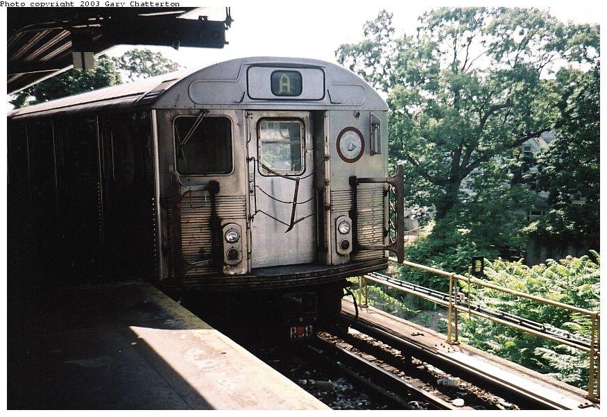 (138k, 875x601)<br><b>Country:</b> United States<br><b>City:</b> New York<br><b>System:</b> New York City Transit<br><b>Line:</b> IND Rockaway Line<br><b>Location:</b> Mott Avenue/Far Rockaway<br><b>Route:</b> A<br><b>Car:</b> R-38 (St. Louis, 1966-1967) 3977 <br><b>Photo by:</b> Gary Chatterton<br><b>Date:</b> 6/28/2003<br><b>Viewed (this week/total):</b> 3 / 5484