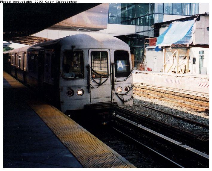 (84k, 710x571)<br><b>Country:</b> United States<br><b>City:</b> New York<br><b>System:</b> New York City Transit<br><b>Line:</b> IND Rockaway Line<br><b>Location:</b> Howard Beach/JFK Airport<br><b>Route:</b> A<br><b>Car:</b> R-44 (St. Louis, 1971-73) 5324 <br><b>Photo by:</b> Gary Chatterton<br><b>Date:</b> 6/28/2003<br><b>Viewed (this week/total):</b> 1 / 4439