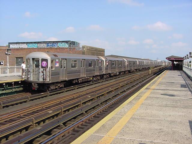 (61k, 640x480)<br><b>Country:</b> United States<br><b>City:</b> New York<br><b>System:</b> New York City Transit<br><b>Line:</b> IRT Flushing Line<br><b>Location:</b> 90th Street/Elmhurst Avenue<br><b>Route:</b> 7<br><b>Car:</b> R-62A (Bombardier, 1984-1987) 2132 <br><b>Photo by:</b> Salaam Allah<br><b>Date:</b> 9/21/2002<br><b>Viewed (this week/total):</b> 2 / 4916