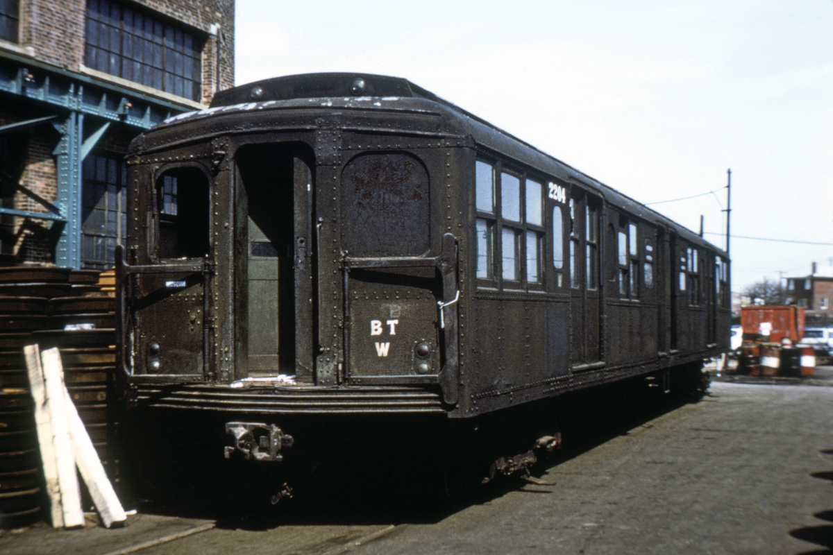 (347k, 1200x800)<br><b>Country:</b> United States<br><b>City:</b> New York<br><b>System:</b> New York City Transit<br><b>Location:</b> Coney Island Yard<br><b>Car:</b> BMT A/B-Type Standard 2204 <br><b>Photo by:</b> Joe Testagrose<br><b>Collection of:</b> David Pirmann<br><b>Date:</b> 4/13/1971<br><b>Viewed (this week/total):</b> 8 / 6313