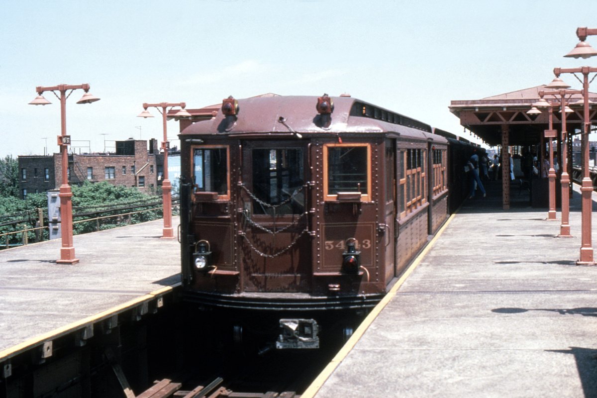 (422k, 1200x800)<br><b>Country:</b> United States<br><b>City:</b> New York<br><b>System:</b> New York City Transit<br><b>Line:</b> IRT Flushing Line<br><b>Location:</b> 61st Street/Woodside<br><b>Car:</b> Low-V (Museum Train) 5443 <br><b>Photo by:</b> Houser Collection<br><b>Collection of:</b> David Pirmann<br><b>Date:</b> 1979<br><b>Viewed (this week/total):</b> 0 / 3152