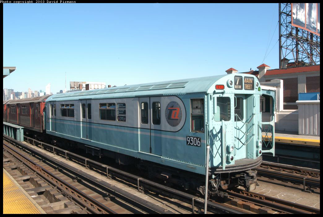 (208k, 1044x701)<br><b>Country:</b> United States<br><b>City:</b> New York<br><b>System:</b> New York City Transit<br><b>Line:</b> IRT Flushing Line<br><b>Location:</b> 33rd Street/Rawson Street<br><b>Route:</b> Fan Trip<br><b>Car:</b> R-33 World's Fair (St. Louis, 1963-64) 9306 <br><b>Photo by:</b> David Pirmann<br><b>Date:</b> 8/23/2003<br><b>Viewed (this week/total):</b> 6 / 12883