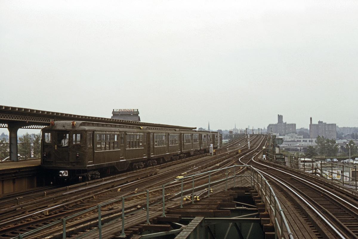 (385k, 1200x800)<br><b>Country:</b> United States<br><b>City:</b> New York<br><b>System:</b> New York City Transit<br><b>Line:</b> IRT Flushing Line<br><b>Location:</b> Willets Point/Mets (fmr. Shea Stadium)<br><b>Route:</b> Fan Trip<br><b>Car:</b> Low-V (Museum Train) 5483 <br><b>Collection of:</b> David Pirmann<br><b>Date:</b> 7/22/1965<br><b>Viewed (this week/total):</b> 2 / 5021