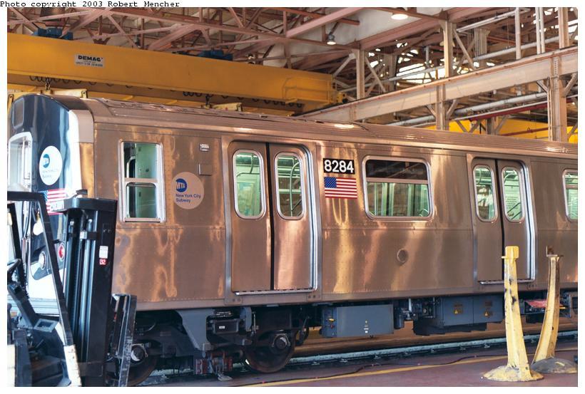 (116k, 820x553)<br><b>Country:</b> United States<br><b>City:</b> New York<br><b>System:</b> New York City Transit<br><b>Location:</b> Coney Island Shop/Overhaul & Repair Shop<br><b>Car:</b> R-143 (Kawasaki, 2001-2002) 8284 <br><b>Photo by:</b> Robert Mencher<br><b>Date:</b> 8/2003<br><b>Viewed (this week/total):</b> 2 / 5155