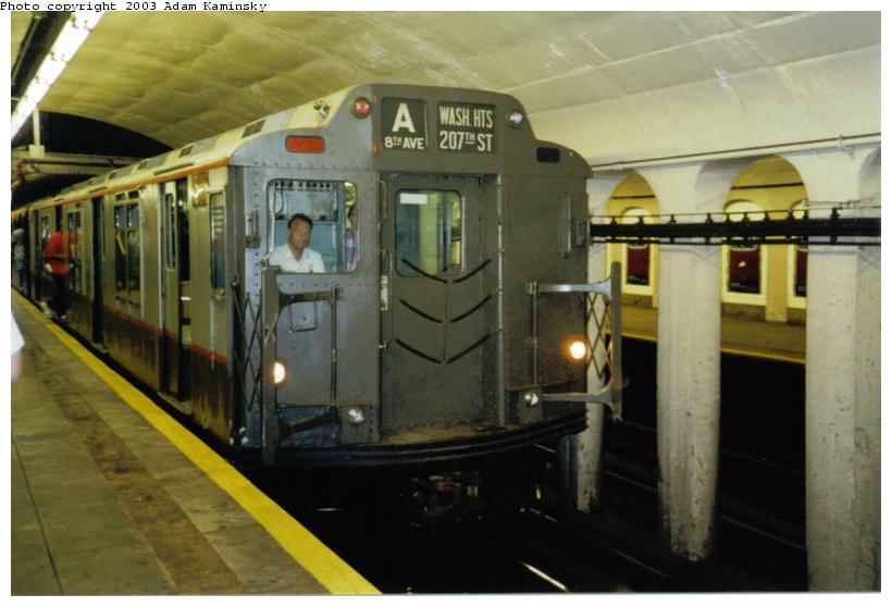 (60k, 820x558)<br><b>Country:</b> United States<br><b>City:</b> New York<br><b>System:</b> New York City Transit<br><b>Line:</b> IND 8th Avenue Line<br><b>Location:</b> 190th Street/Overlook Terrace<br><b>Route:</b> Fan Trip<br><b>Car:</b> R-7A (Pullman, 1938) 1575 <br><b>Photo by:</b> Adam Kaminsky<br><b>Date:</b> 8/24/2003<br><b>Viewed (this week/total):</b> 1 / 5523