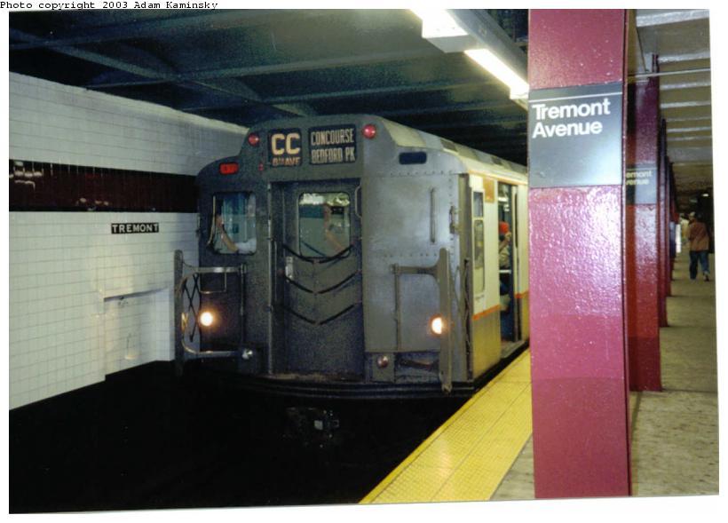 (59k, 820x589)<br><b>Country:</b> United States<br><b>City:</b> New York<br><b>System:</b> New York City Transit<br><b>Line:</b> IND Concourse Line<br><b>Location:</b> Tremont Avenue<br><b>Route:</b> Fan Trip<br><b>Car:</b> R-7A (Pullman, 1938) 1575 <br><b>Photo by:</b> Adam Kaminsky<br><b>Date:</b> 8/24/2003<br><b>Viewed (this week/total):</b> 1 / 5736