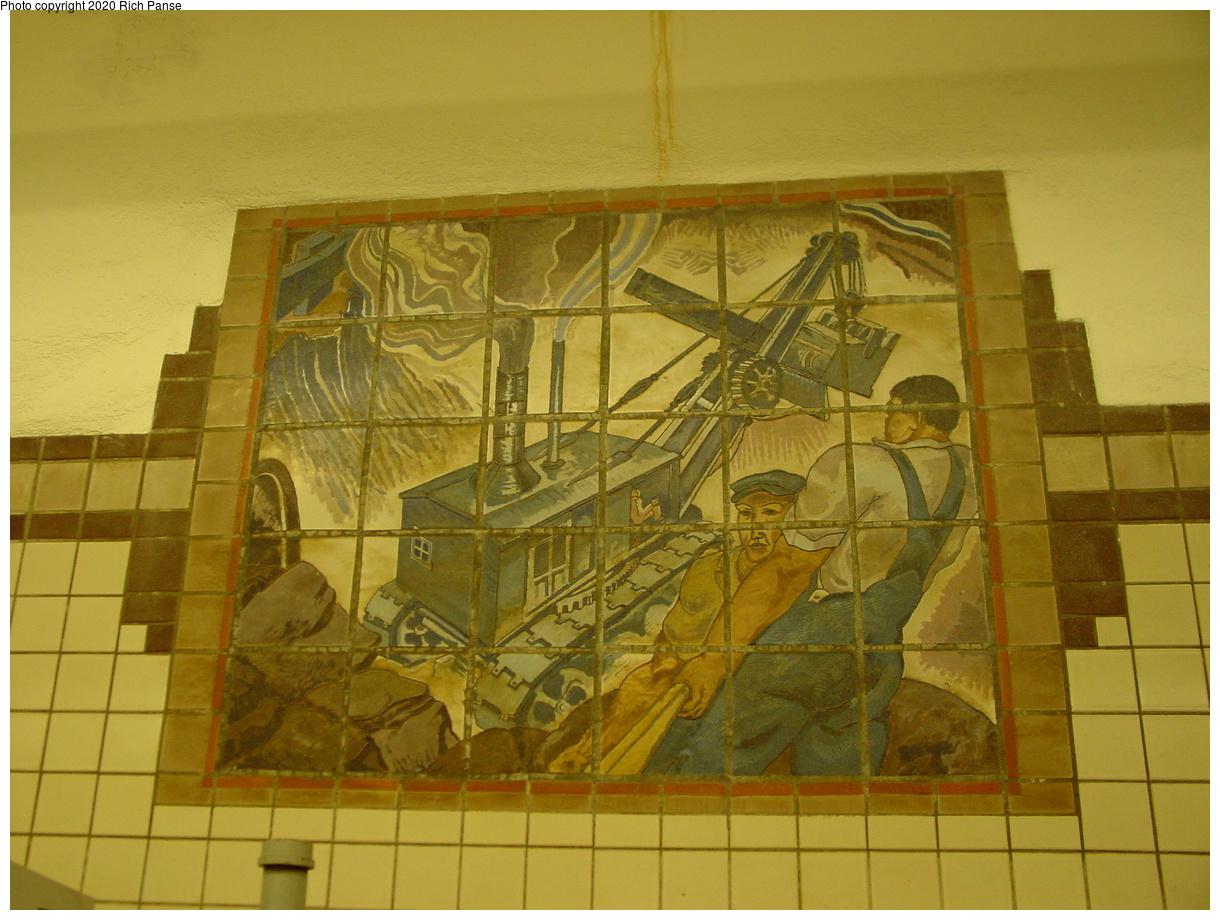 (397k, 1220x920)<br><b>Country:</b> United States<br><b>City:</b> Newark, NJ<br><b>System:</b> Newark City Subway<br><b>Line:</b> 7-City Subway<br><b>Location:</b> Penn Station<br><b>Photo by:</b> Richard Panse<br><b>Date:</b> 5/27/2003<br><b>Notes:</b> Subway Workers Mosaic<br><b>Viewed (this week/total):</b> 0 / 3126