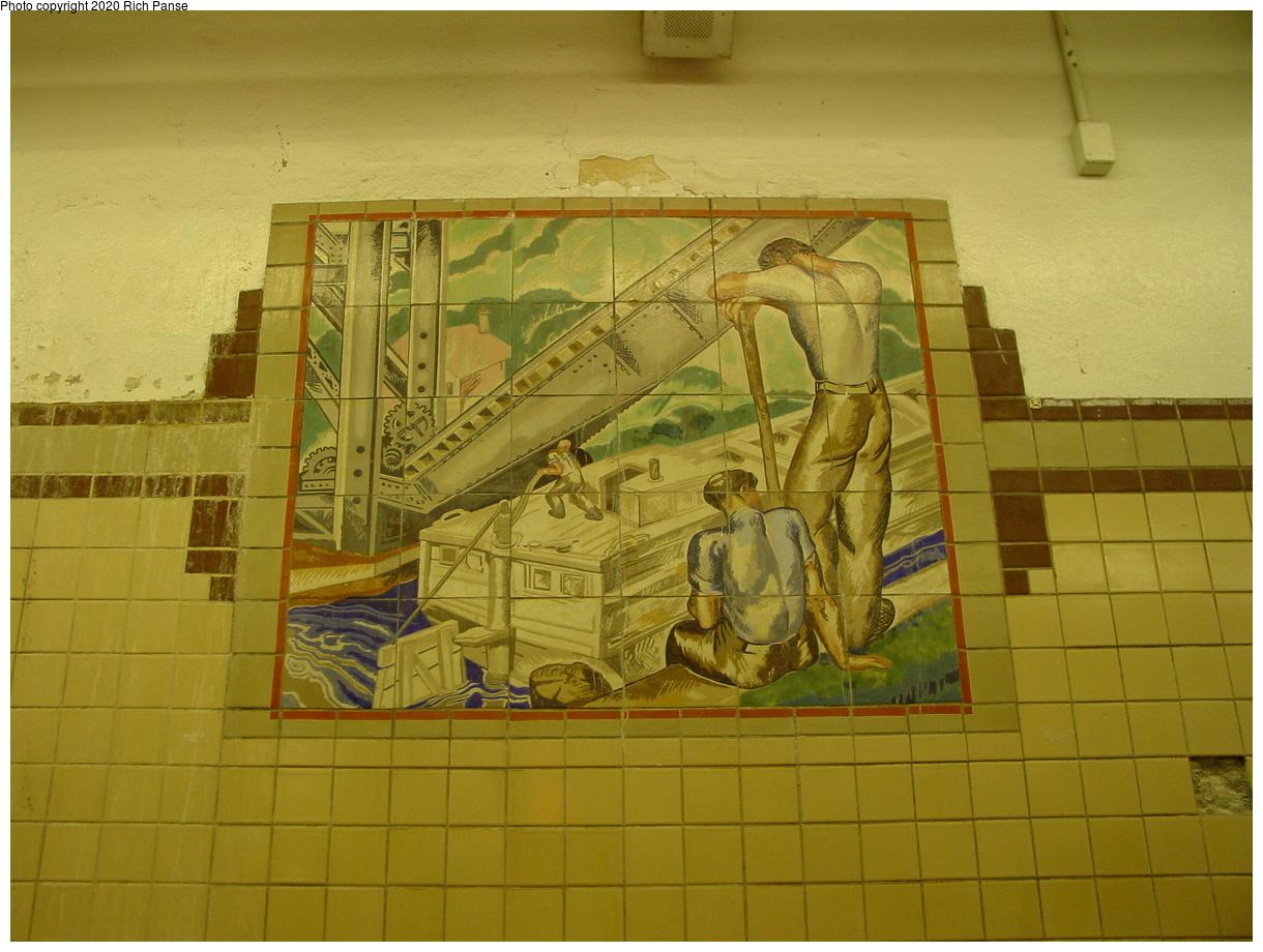 (400k, 1220x920)<br><b>Country:</b> United States<br><b>City:</b> Newark, NJ<br><b>System:</b> Newark City Subway<br><b>Line:</b> 7-City Subway<br><b>Location:</b> Penn Station<br><b>Photo by:</b> Richard Panse<br><b>Date:</b> 5/27/2003<br><b>Notes:</b> Canal Workers Mosaic<br><b>Viewed (this week/total):</b> 1 / 3266