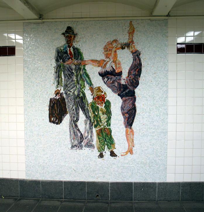 (84k, 698x725)<br><b>Country:</b> United States<br><b>City:</b> New York<br><b>System:</b> New York City Transit<br><b>Line:</b> IND 8th Avenue Line<br><b>Location:</b> 34th Street/Penn Station<br><b>Photo by:</b> David of Broadway<br><b>Date:</b> 6/11/2003<br><b>Artwork:</b> <i>Garden of Circus Delights</i>, Eric Fischl, 2001<br><b>Viewed (this week/total):</b> 0 / 4846