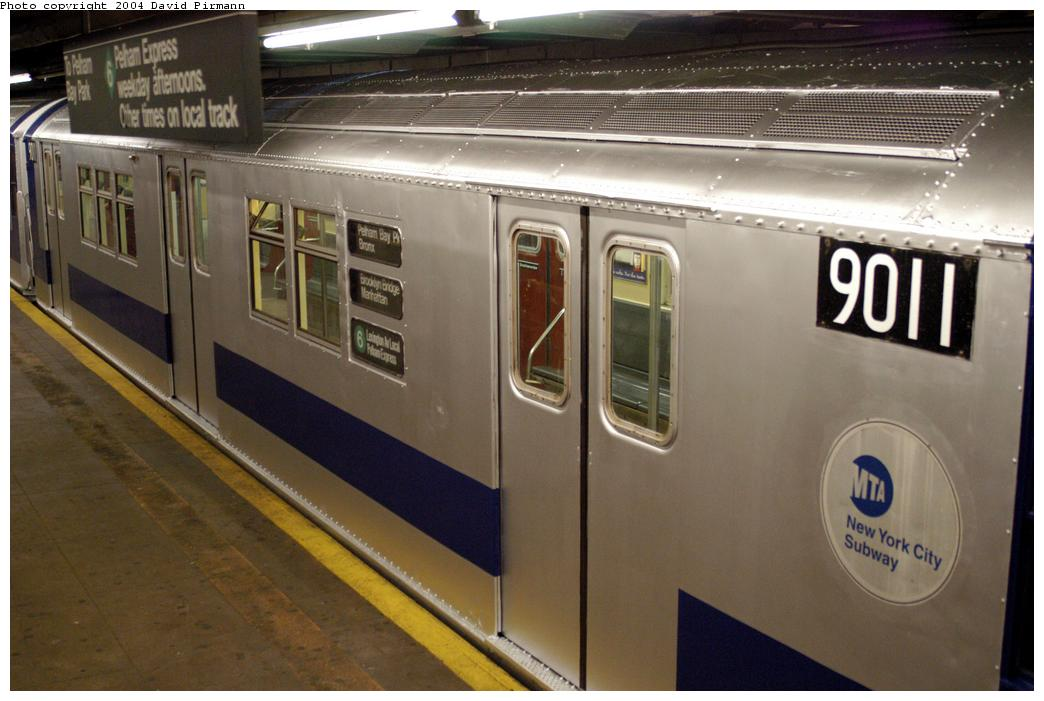 (149k, 1044x701)<br><b>Country:</b> United States<br><b>City:</b> New York<br><b>System:</b> New York City Transit<br><b>Line:</b> IRT Pelham Line<br><b>Location:</b> Hunts Point Avenue<br><b>Route:</b> Fan Trip<br><b>Car:</b> R-33 Main Line (St. Louis, 1962-63) 9011 <br><b>Photo by:</b> David Pirmann<br><b>Date:</b> 4/17/2004<br><b>Viewed (this week/total):</b> 0 / 4972