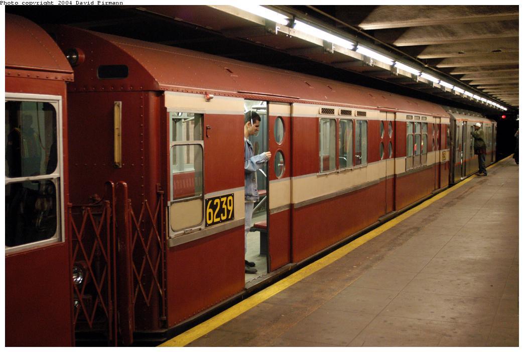 (154k, 1044x701)<br><b>Country:</b> United States<br><b>City:</b> New York<br><b>System:</b> New York City Transit<br><b>Line:</b> IRT Pelham Line<br><b>Location:</b> Hunts Point Avenue<br><b>Route:</b> Fan Trip<br><b>Car:</b> R-15 (American Car & Foundry, 1950) 6239 <br><b>Photo by:</b> David Pirmann<br><b>Date:</b> 4/17/2004<br><b>Viewed (this week/total):</b> 4 / 4368