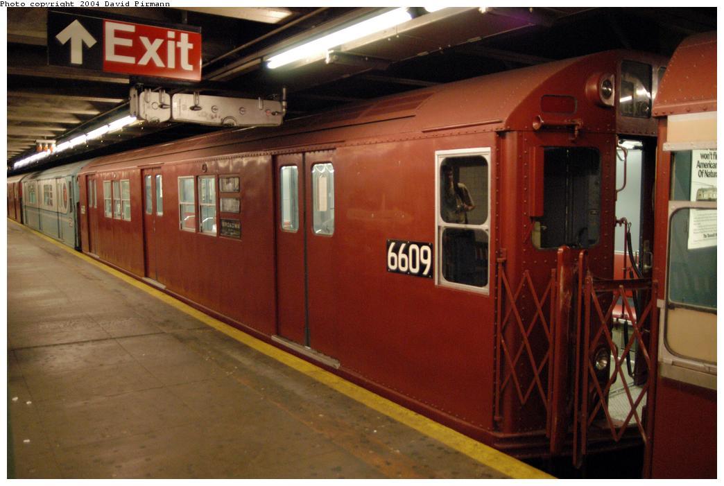 (149k, 1044x701)<br><b>Country:</b> United States<br><b>City:</b> New York<br><b>System:</b> New York City Transit<br><b>Line:</b> IRT Pelham Line<br><b>Location:</b> Hunts Point Avenue<br><b>Route:</b> Fan Trip<br><b>Car:</b> R-17 (St. Louis, 1955-56) 6609 <br><b>Photo by:</b> David Pirmann<br><b>Date:</b> 4/17/2004<br><b>Viewed (this week/total):</b> 0 / 3996