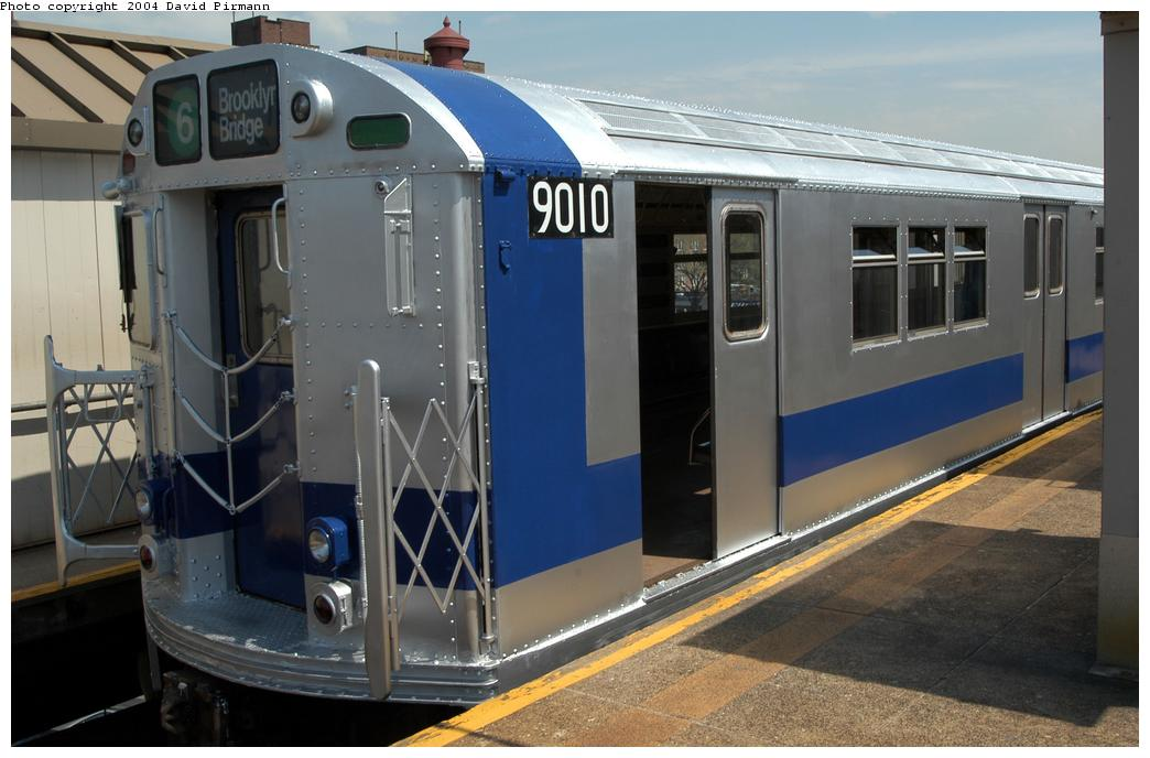 (149k, 1044x688)<br><b>Country:</b> United States<br><b>City:</b> New York<br><b>System:</b> New York City Transit<br><b>Line:</b> IRT Pelham Line<br><b>Location:</b> East 177th Street/Parkchester<br><b>Route:</b> Fan Trip<br><b>Car:</b> R-33 Main Line (St. Louis, 1962-63) 9010 <br><b>Photo by:</b> David Pirmann<br><b>Date:</b> 4/17/2004<br><b>Viewed (this week/total):</b> 0 / 4738
