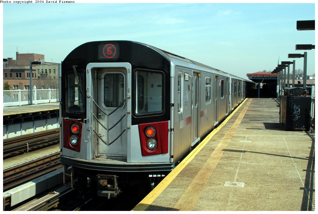 (162k, 1044x701)<br><b>Country:</b> United States<br><b>City:</b> New York<br><b>System:</b> New York City Transit<br><b>Line:</b> IRT Pelham Line<br><b>Location:</b> Zerega Avenue<br><b>Route:</b> 6<br><b>Car:</b> R-142A (Option Order, Kawasaki, 2002-2003) 7681 <br><b>Photo by:</b> David Pirmann<br><b>Date:</b> 4/17/2004<br><b>Viewed (this week/total):</b> 2 / 4581