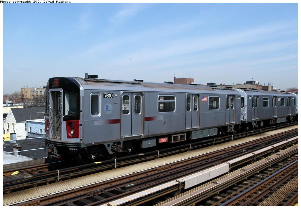 (155k, 1044x724)<br><b>Country:</b> United States<br><b>City:</b> New York<br><b>System:</b> New York City Transit<br><b>Line:</b> IRT Pelham Line<br><b>Location:</b> Zerega Avenue<br><b>Route:</b> 6<br><b>Car:</b> R-142A (Primary Order, Kawasaki, 1999-2002) 7610 <br><b>Photo by:</b> David Pirmann<br><b>Date:</b> 4/17/2004<br><b>Viewed (this week/total):</b> 0 / 5424