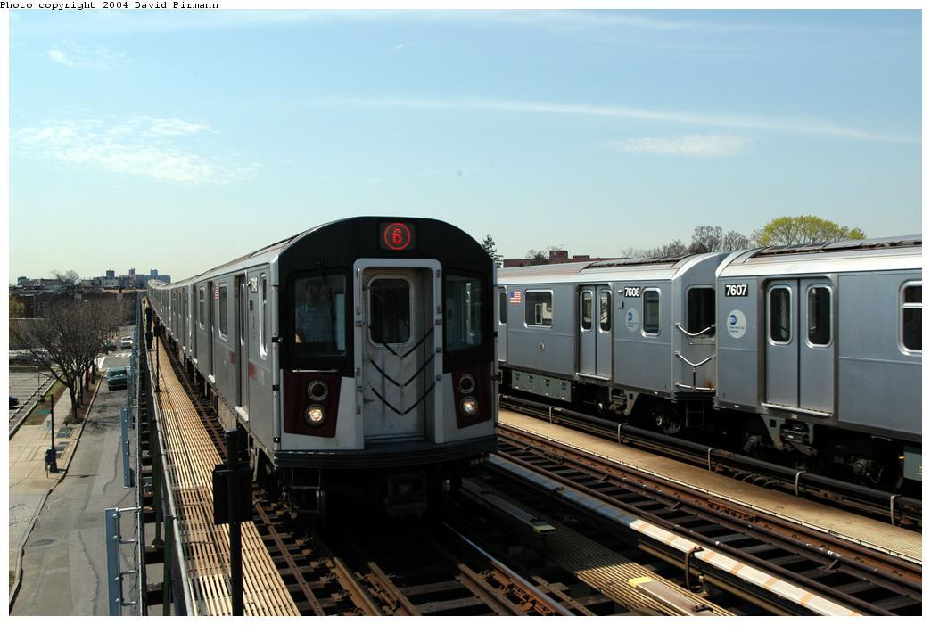 (149k, 1044x701)<br><b>Country:</b> United States<br><b>City:</b> New York<br><b>System:</b> New York City Transit<br><b>Line:</b> IRT Pelham Line<br><b>Location:</b> Zerega Avenue<br><b>Route:</b> 6<br><b>Car:</b> R-142A (Option Order, Kawasaki, 2002-2003) 7646 <br><b>Photo by:</b> David Pirmann<br><b>Date:</b> 4/17/2004<br><b>Viewed (this week/total):</b> 0 / 4008