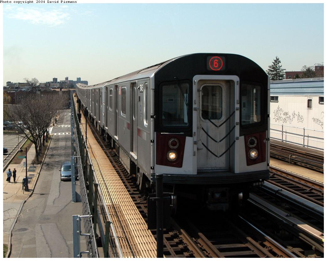 (168k, 1044x834)<br><b>Country:</b> United States<br><b>City:</b> New York<br><b>System:</b> New York City Transit<br><b>Line:</b> IRT Pelham Line<br><b>Location:</b> Zerega Avenue<br><b>Route:</b> 6<br><b>Car:</b> R-142A (Option Order, Kawasaki, 2002-2003) 7645 <br><b>Photo by:</b> David Pirmann<br><b>Date:</b> 4/17/2004<br><b>Viewed (this week/total):</b> 0 / 4913