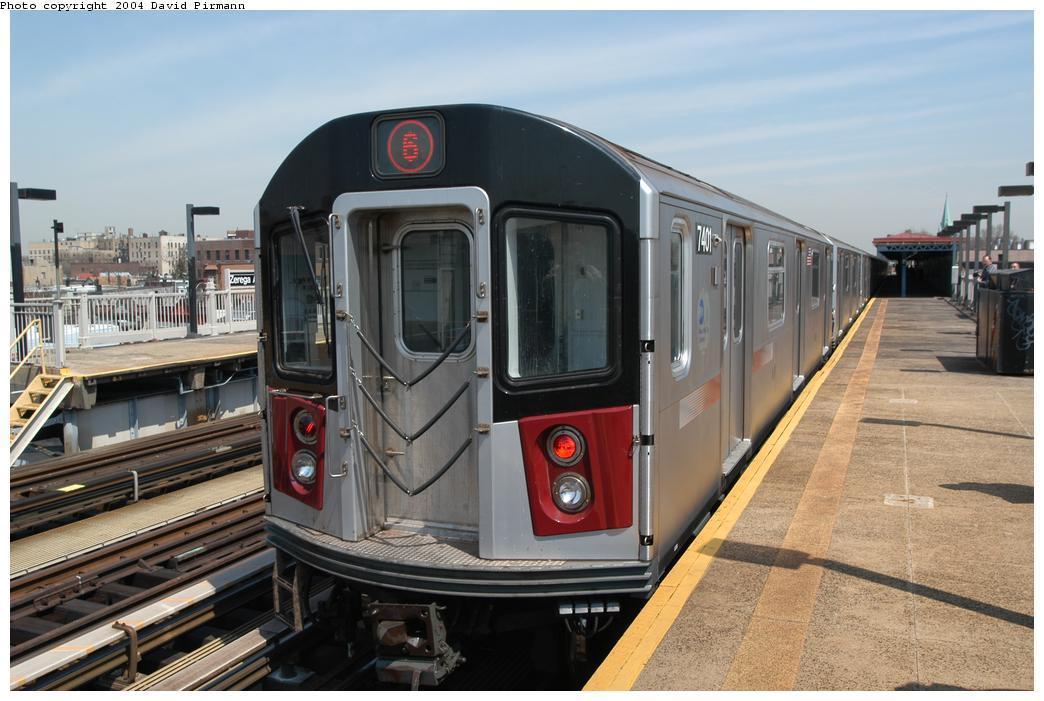 (152k, 1044x701)<br><b>Country:</b> United States<br><b>City:</b> New York<br><b>System:</b> New York City Transit<br><b>Line:</b> IRT Pelham Line<br><b>Location:</b> Zerega Avenue<br><b>Route:</b> 6<br><b>Car:</b> R-142A (Primary Order, Kawasaki, 1999-2002) 7401 <br><b>Photo by:</b> David Pirmann<br><b>Date:</b> 4/17/2004<br><b>Viewed (this week/total):</b> 0 / 4085