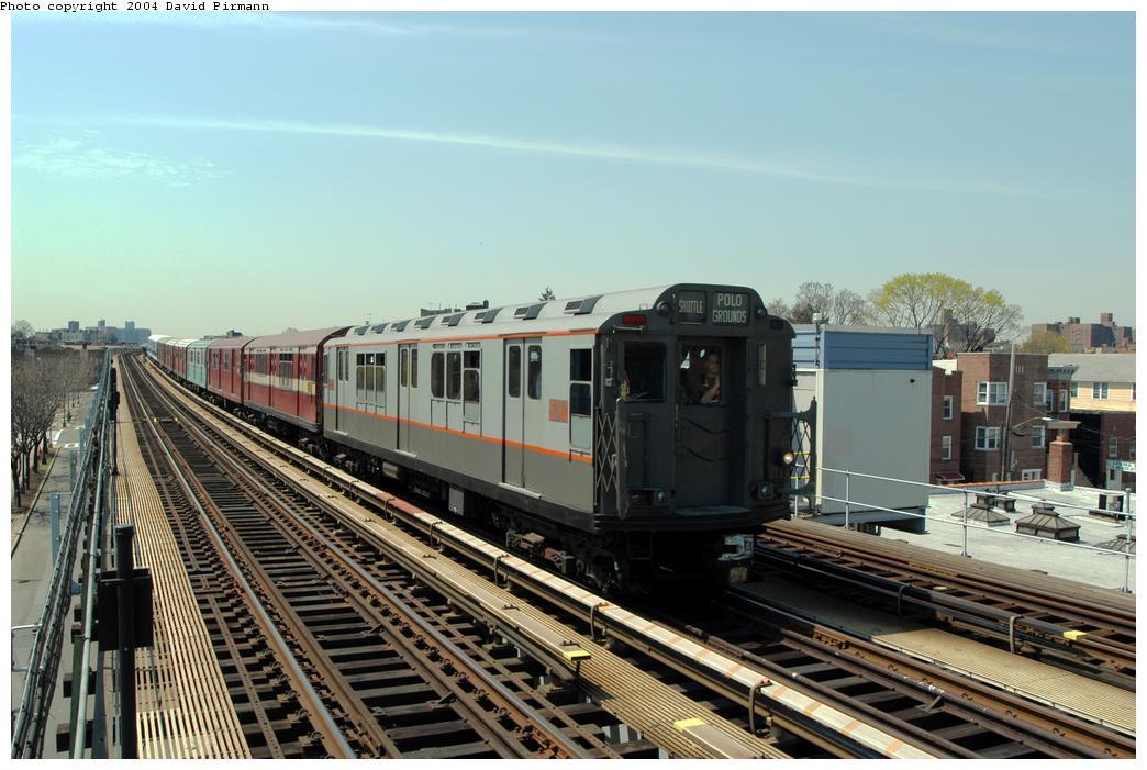 (172k, 1044x701)<br><b>Country:</b> United States<br><b>City:</b> New York<br><b>System:</b> New York City Transit<br><b>Line:</b> IRT Pelham Line<br><b>Location:</b> Zerega Avenue<br><b>Route:</b> Fan Trip<br><b>Car:</b> R-12 (American Car & Foundry, 1948) 5760 <br><b>Photo by:</b> David Pirmann<br><b>Date:</b> 4/17/2004<br><b>Viewed (this week/total):</b> 2 / 2910