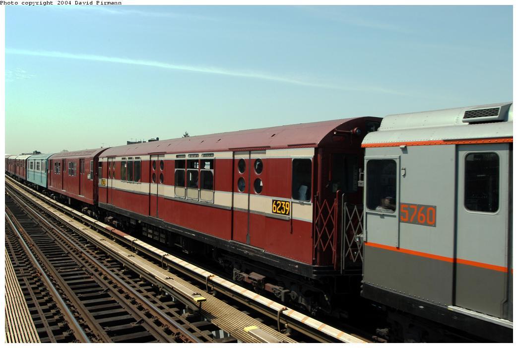 (144k, 1044x701)<br><b>Country:</b> United States<br><b>City:</b> New York<br><b>System:</b> New York City Transit<br><b>Line:</b> IRT Pelham Line<br><b>Location:</b> Zerega Avenue<br><b>Route:</b> Fan Trip<br><b>Car:</b> R-15 (American Car & Foundry, 1950) 6239 <br><b>Photo by:</b> David Pirmann<br><b>Date:</b> 4/17/2004<br><b>Viewed (this week/total):</b> 1 / 2793